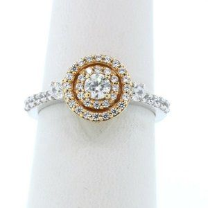 STUNNING DIAMONIQUE HALO RING 925 18K GOLD FINISH